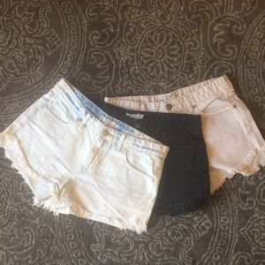 3 pairs Free People Dolphin Cutoff Denim Shorts